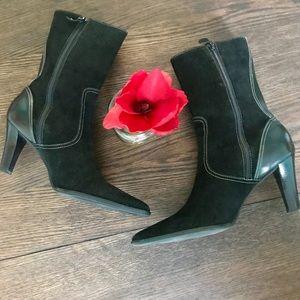 Unisa Shoes - Unisa Black Suede & Leather Zip up Booties w/heel